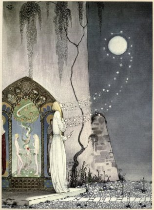 Kay_Nielsen_-_East_of_the_sun_and_west_of_the_moon_-_The_lassie_and_her_godmother_-_She_coud_not_help_setting_the_door_a_lttle_ajar